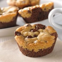 Cookie Brownie Cups (Easy; 12 cups) #cookiebrownie #dessert