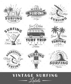 Buy Set of Vintage Surfing Labels by MegaShabanov on GraphicRiver. Set of vintage surfing labels, emblems and logos, as well as of elements for design. Content is detailed and ready to. Business Brochure, Business Card Logo, Surf Vintage, Surf Logo, World Surf, Logos Ideas, Creative Sketches, Pencil Illustration, Paint Markers