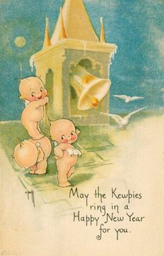 Happy New Year Kewpie Babies Ring in New Year Rose O'Neill Postcard Fantasy New Year Greeting Cards, New Year Greetings, Vintage Greeting Cards, Vintage Ephemera, Vintage Postcards, Vintage Paper, Vintage Christmas Images, Vintage Holiday, Christmas Pictures