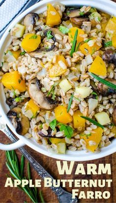 If you love healthy farro recipes for Fall and Winter, this easy dinner side dish with butternut squash, apples and mushrooms is always a hit. Mushroom Side Dishes, Vegetable Side Dishes, Dinner Side Dishes, Dinner Sides, Farro Recipes, Healthy Recipes, Apple Recipes, Vegetarian Side Dishes, Vegetarian Dinners
