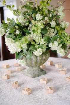 These petite party favors add a special touch to this spring wedding. Photography by Sara Petras at Pippin Hill Farm & Vineyards. Luxe Wedding, Spring Wedding, Wedding Blog, Wedding Details, Wedding Styles, Wedding 2015, Wedding Ideas, White Floral Arrangements, Hydrangea Arrangements