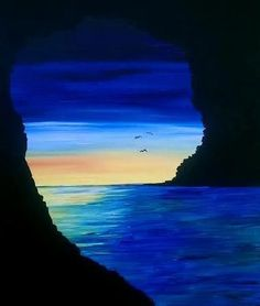 Sea Caves at Chevys Emeryville - Paint Nite Events near Emeryville, CA - Malerei & Kunst Painting & Drawing, Watercolor Paintings, Sea Paintings, Diy Painting, Beginner Painting, Pastel Art, Pictures To Paint, Acrylic Art, Painting Techniques