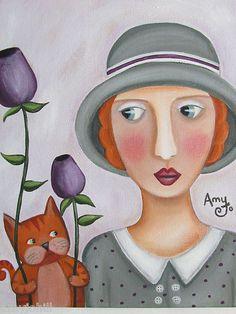 """""""Peace Offerings"""" Original Folk Art painting by Amy Jo Hill"""