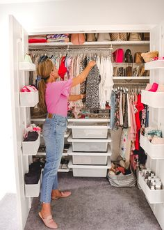 A Mix of Min provides tips on optimizing closet space with The Container Store and their customer Elfa closets. Huge Closet, Tiny Closet, Small Closets, Closet Space, Linen Closets, Wardrobe Organisation, Small Closet Organization, Kitchen Organization, Small Closet Storage