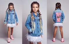 DARIA Y MARIA hand painted jacket with ostrich feathers. #kids #littleprincess #minimodels #denim #denimjacket