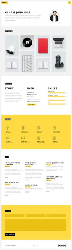 Free Creative One Page Portfolio Website Template PSD - resume website template