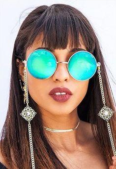 d04ed01d09157 Brooke Mirrored Lens Round Sunglasses Cordinha Oculos, Cordão Para Oculos,  Óculos Feminino, Correntes