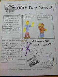100th day ideas for aprox grade 1-2  100 days of school language arts activity Teaching Time, Student Teaching, Teaching Ideas, 100 Day Celebration, First Day Of School, 100 Days Of School, School Fun, School Stuff, School Holidays