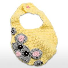 Adorable baby bib with peek a boo mouse DIY crochet Crochet Baby Bibs, Crochet Mouse, Crochet Baby Clothes, Love Crochet, Crochet For Kids, Baby Knitting, Knit Crochet, Easy Crochet, Crochet Crafts