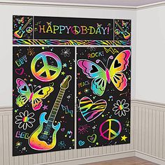 Neon Birthday Scene Setter Kit