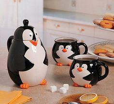 Penguin Tea Set Coffee Set, Coffee Love, Coffee Mugs, Cupping Set, Penguin Love, Penguin Mug, Penguin Party, Cheap Gifts, All About Penguins