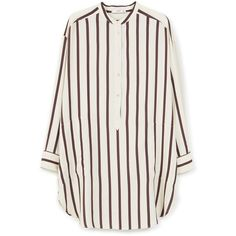 Mango Oversize striped shirt (1 120 ZAR) ❤ liked on Polyvore featuring tops, blouses, shirts, long sleeves, dark brown, women, stripe shirt, long sleeve shirts, long-sleeve shirt and striped blouse