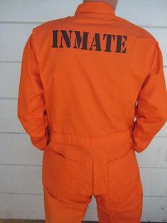 """INMATE Orange Jumpsuit ,custom printed to your specifications! Here's a great opportunity to get a truly unique costume/gift: a custom-printed inmate jumpsuit. For example; if you live in Alabama and you want """"ALABAMA STATE PEN"""" /""""INMATE"""", we can do it. 