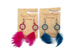 Fun, unique earrings to catch anyone's eye!  Brightens an outfit and so light to wear. Lots of colors available!  Handmade in Peru by 3rd world artisans striving to break the cycle of poverty.