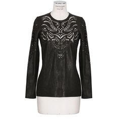 Isabel Marant Black Perforated Leather Yanis Top ($2,275) ❤ liked on Polyvore