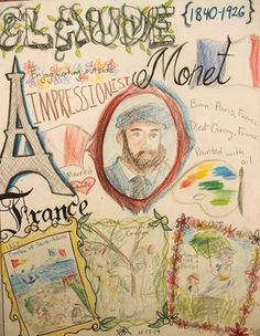 Have students research an artist and make a biography page sketchbook style. Polina48's art on Artsonia