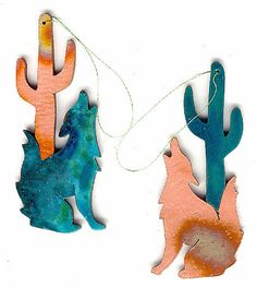 CopperCutts Coyote with Cactus Ornament Rustic Southwest Copper and Wood with Your Choice of Primary Color Copper Artwork, Diy Jewelry Parts, Southwestern Home Decor, Wooden Snowflakes, Dried Flowers, Decorative Accessories, Primary Colors, Cactus, Rustic