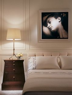 Thomas Pheasant - An American in Paris : Architectural Digest; Greek Key Bedding Panelling in master bedroom Classic Interior, Home Interior Design, Interior Ideas, Modern Interior, Bedroom Bed, Bedroom Furniture, Master Bedrooms, Dark Furniture, Bedroom Ideas