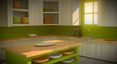 kitchen paint colours - green, wood, yellow, white