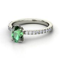 Oval Emerald 14K White Gold Ring with Diamond | Colette Ring | Gemvara