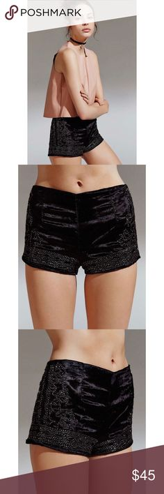 [ecote] embellished mystic pin-up shorts uo • style name: embellished mystic pin-up shorts • color: black w/ silver beading detail • crushed velvet fabric • back zipper • condition: never worn, new w/o store tag, only the bag w/ extra beads is still attached • tag inside is marked due to store's wholesale/liquidation policies ____________________________________ ✅ make an offer!     ✅ i bundle!                      ⛔️ posh compliant closet & no trades               🛍 boutique item Urban…