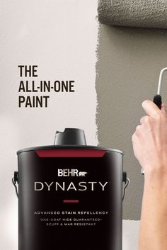 Introducing BEHR DYNASTY™ Interior Paint. It's everything you want, now all in one can. BEHR DYNASTY™ is stain repellent, scuff resistant, fast-drying, and even has one-coat coverage.* With walls this beautiful, even your TV will be begging for attention. 🎨: Rustic Taupe N200-4 *Limitations apply. Visit behr.com for more information.