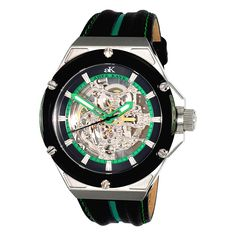Adee Kaye Men's 'Le Gear' Skeleton Dial Black/ Green Leather Strap Watch | Overstock.com Shopping - The Best Deals on Men's Adee Kaye Watches