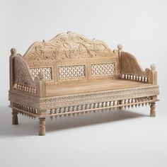 Crafted of solid wood with an antique finish, our bench blends Indian cultural…