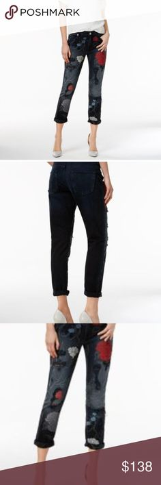 "True Religion Ripped Embroidered Slim Boyfriend Take your denim style to a whole new level with these bold boyfriend jeans from True Religion. Mid rise; slim fit through hips and thighs; slim leg can be uncuffed. Zipper and button closure; belt loops. Classic five-pocket styling. Rip and embroidered at front. Black wash with fading and tonal topstitching. Approximate inseam: 28"". Cotton/elastane. True Religion Jeans"