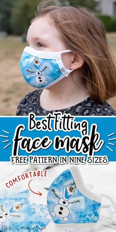 Face masks need to fit properly. This free pattern comes in 9 sizes - 4 adult and 5 kids sizes. #diyFaceMask #facemasks #facemaskpattern #homemadefacemask Easy Face Masks, Homemade Face Masks, Diy Face Mask, Disney Diy Crafts, Sewing Hacks, Sewing Tips, Handbag Organization, 5 Kids, Grooming Kit