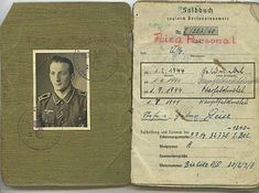 Soldbuch issued to an unteroffizier (NCO) in the Brandenburg Regiment. Notice he is wearing the 1943 pattern Army Paratroopers Badge.