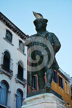 Carlo Goldoni bronze statue in Bartolomeo square, in Venice, in Veneto, Italy, Europe.
