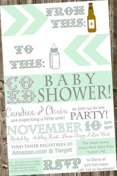 Baby Shower Invitation: From beer bottle to baby bottle- Mint & white co ed, typography, book instead of a card (Beer Bottle Party)