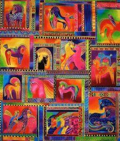 Laurel Burch Fabric Dancing Horses Fabric Panel Bright RARE OOP