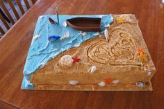 Beach/fishing themed sheet cake