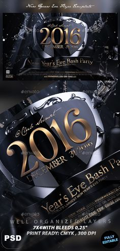 New Years Eve Flyer Layout Party Design Template Mockup Marketing Ideas Flyers