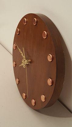 Copper and oak clock
