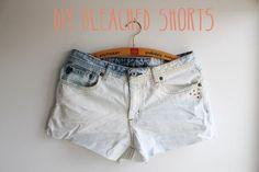 DIY Clothes DIY Refashion DIY Shorts Fashion: DIY bleached studded denim shorts