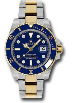 40mm stainless steel case, 18K yellow gold unidirectional rotatable bezel with blue Cerachrom disc, blue dial, 8 diamond hour markers, and stainless steel and 18K yellow gold Oyster bracelet with Glid
