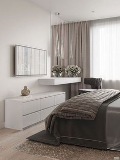 54 White and Grey Master Bedroom Interior Design A Few Ideas That May Make Us Feel Calm Home Decor Bedroom, Modern Bedroom, Bedroom Inspirations, Home Bedroom, Bedroom Interior, Modern Bedroom Design, Luxurious Bedrooms, Luxury Interior, Small Bedroom