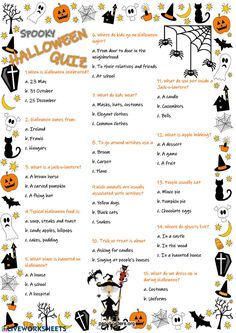 Halloween Quiz Language: English Grade/level: elementary School subject: English as a Second Language (ESL) Main content: Halloween Other contents: Halloween Worksheets, Halloween Activities For Kids, Halloween Themes, Halloween Fun, Kids English, English Lessons, English Teachers, Family Quiz, Halloween Scavenger Hunt