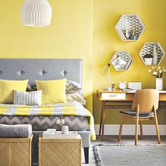 Light Yellow Walls Living Room Decor Yellow Bedroom Ideas For Sunny Mornings And Sweet Dreams for [keyword Yellow Gray Bedroom, Grey Bedroom Design, Grey Bedroom Decor, Bedroom Wall, Bedroom Ideas, Bedroom Designs, Yellow Bedrooms, Mustard And Grey Bedroom, Yellow Master Bedroom