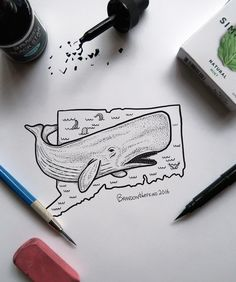 Connecticut, better know as the sperm whale state. My goal hear os to illustrate the 50 states, if anyone has a request for the next state just let me know  _______________ #art #drawing #artist #inktober #sketch #artistic #sketchbook #illustration #design #draw #instaart #connecticut #pen #doodle #instaartist #illistration #create #artists #spermwhale #ink #creative #artwork #illustrator #instaartist #pencil #designers #graphic #designer #inktober2016 #kuretakeinktober2016