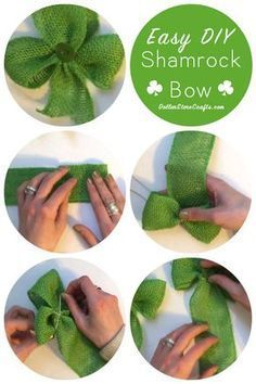 Easy Shamrock Bow - I dug out all of my green craft supplies recently in honor of St. Patrick's Day and came up with this easy shamrock bow made out of ribbon. Dank Wallpaper, Colors English, Spring Crafts, Holiday Crafts, Diy St Patrick's Day Crafts, March Crafts, Diy St Patricks Day Decor, St Patricks Day Hair Bows, Fete Saint Patrick