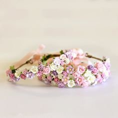 Flower Crown CLASSIC in Blush Lilac & White by Megsy-Jane // www.megsyjane.com.au // Bespoke handcrafted flower crowns and jewellery designed and made in Australia for weddings, brides, hen's parties, flower girls, festivals, spring carnival and events.