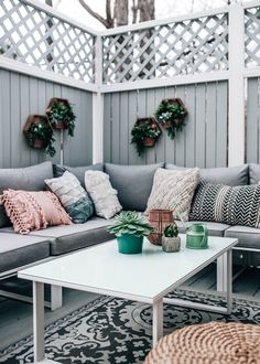 Decorating an Outdoor Living Space for Spring/Summer w/ @BedBathBeyond, deck stain grey