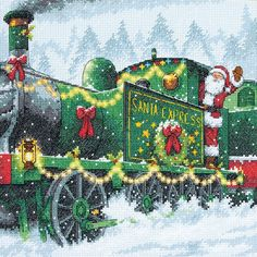 Santa Express Counted Cross Stitch Kit-10inX10in 14 Count