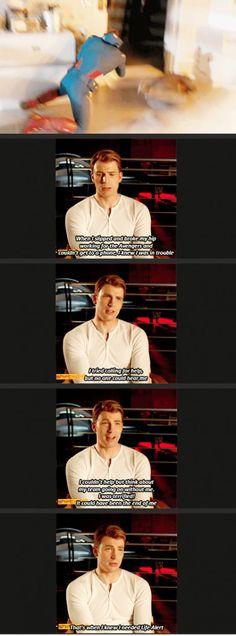Chris joking about when he got hurt on set! The best :)