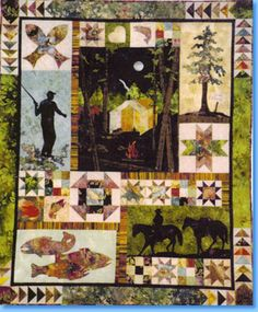 This is a Camping Quilt but nice layout for a Farm quilt, too. Quilting Tutorials, Quilting Projects, Quilting Ideas, Quilting Board, Panel Quilts, Quilt Blocks, Strip Quilts, Quilt Kits, Farm Quilt