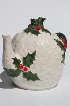 vintage Lefton china white holly Christmas tea pot, Lefton's Japan